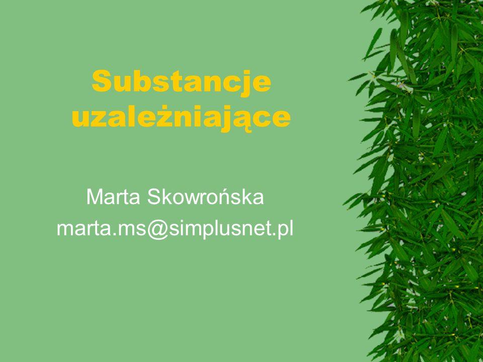 Podsumowanie  Wprowadzenie  Etanol  Farmakokinetyka  Działanie  Uzależnienie i leczenie  Epidemiologia narkomanii  Opiaty  Konopie  Stymulanty  Kokaina  Amfetaminy  Psychodysleptyki  LSD, psylocybina, meskalin  Ecstasy, fencyklidyna  Inhalanty