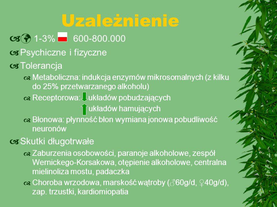 Uzależnienie  1-3% 600-800.000  Psychiczne i fizyczne  Tolerancja  Metaboliczna: indukcja enzymów mikrosomalnych (z kilku do 25% przetwarzanego al