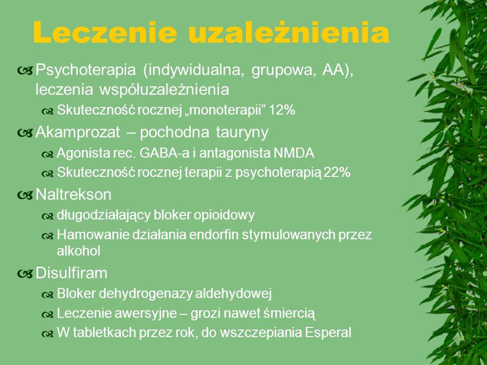 """Leczenie uzależnienia  Psychoterapia (indywidualna, grupowa, AA), leczenia współuzależnienia  Skuteczność rocznej """"monoterapii"""" 12%  Akamprozat – p"""