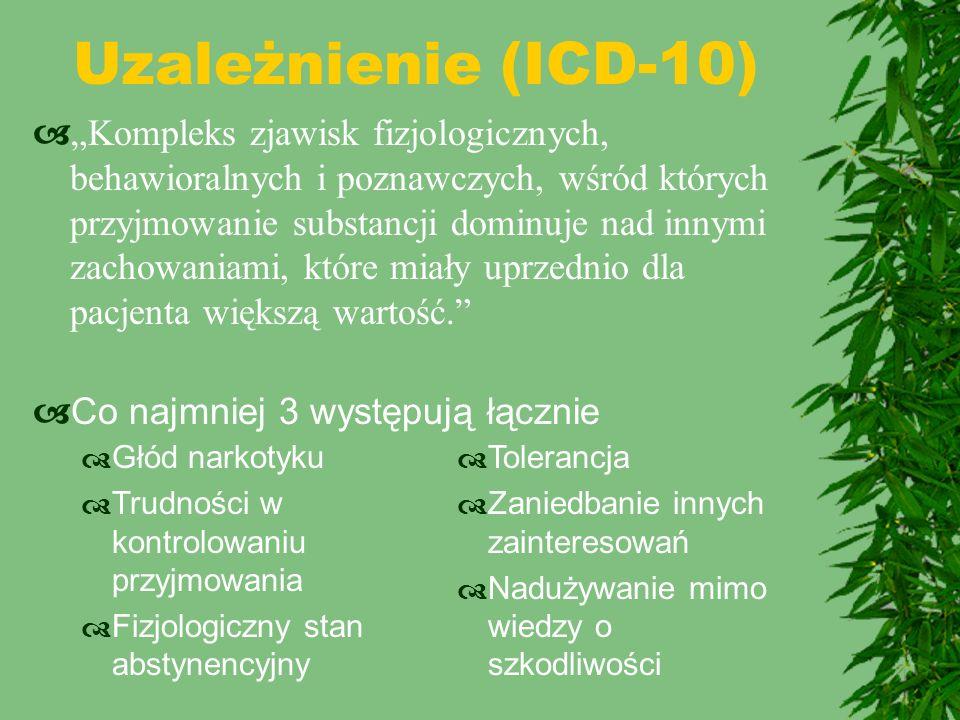 Definicje  Tolerancja  Wytworzenie przez organizm mechanizmów osłabiających działanie substancji  Zespół abstynencyjny  Zespół objawów po odstawieniu wynikający z przewagi mechanizmów przystosowawczych przy braku działania narkotyku  Uzależnienie fizyczne  Tolerancja + somatyczne objawy abstynencyjne  Uzależnienie psychicze  Tolerancja + psychiczne objawy abstynencyjne (głód narkotyku)