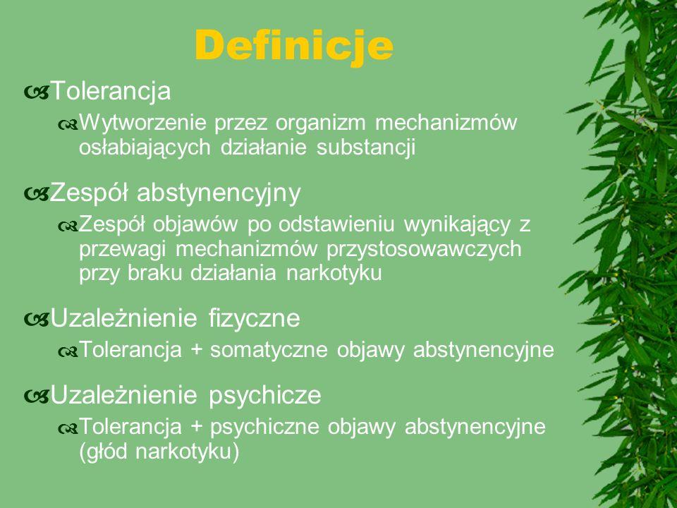Definicje  Tolerancja  Wytworzenie przez organizm mechanizmów osłabiających działanie substancji  Zespół abstynencyjny  Zespół objawów po odstawie