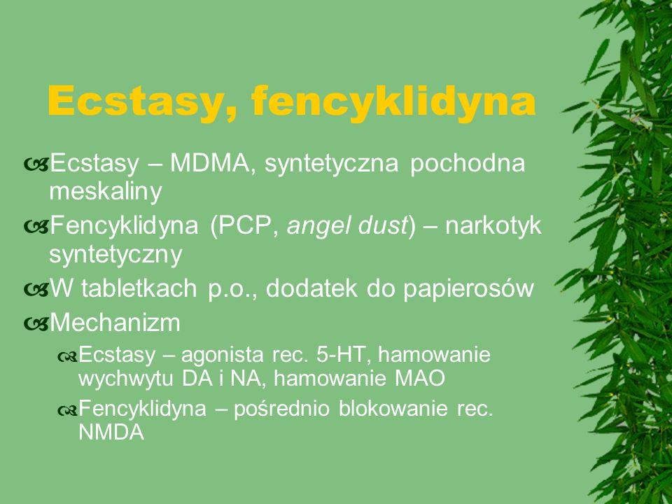 Ecstasy, fencyklidyna  Ecstasy – MDMA, syntetyczna pochodna meskaliny  Fencyklidyna (PCP, angel dust) – narkotyk syntetyczny  W tabletkach p.o., do