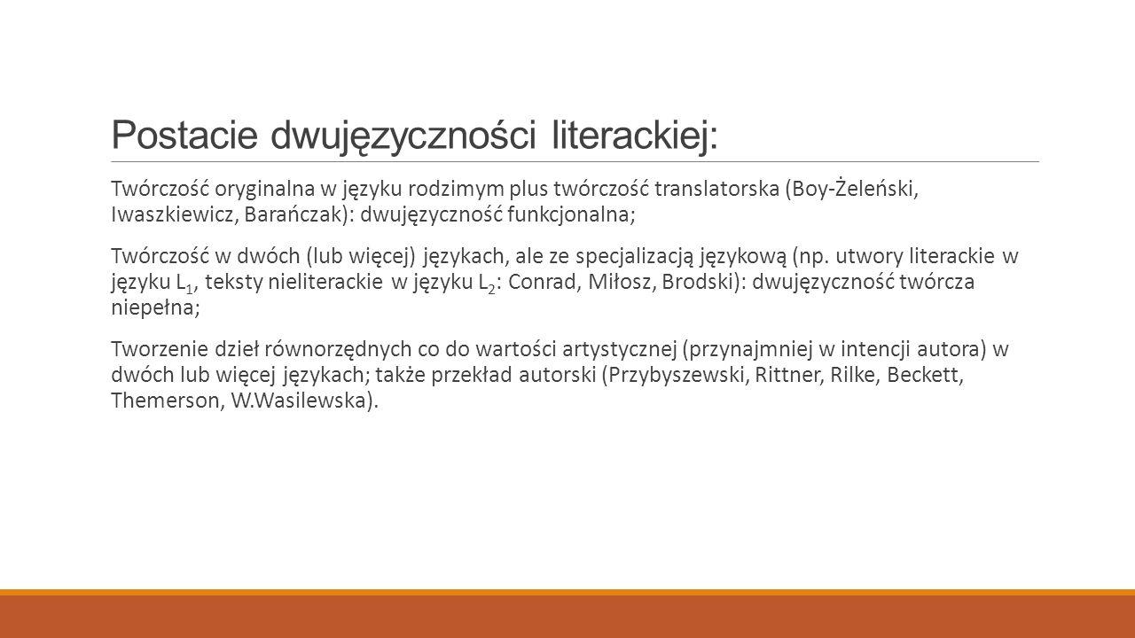 Postacie dwujęzyczności literackiej: Twórczość oryginalna w języku rodzimym plus twórczość translatorska (Boy-Żeleński, Iwaszkiewicz, Barańczak): dwuj