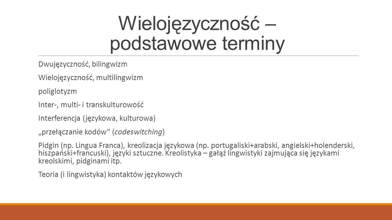 Wielojęzyczność – podstawowe terminy Dwujęzyczność, bilingwizm Wielojęzyczność, multilingwizm poliglotyzm Inter-, multi- i transkulturowość Interferen