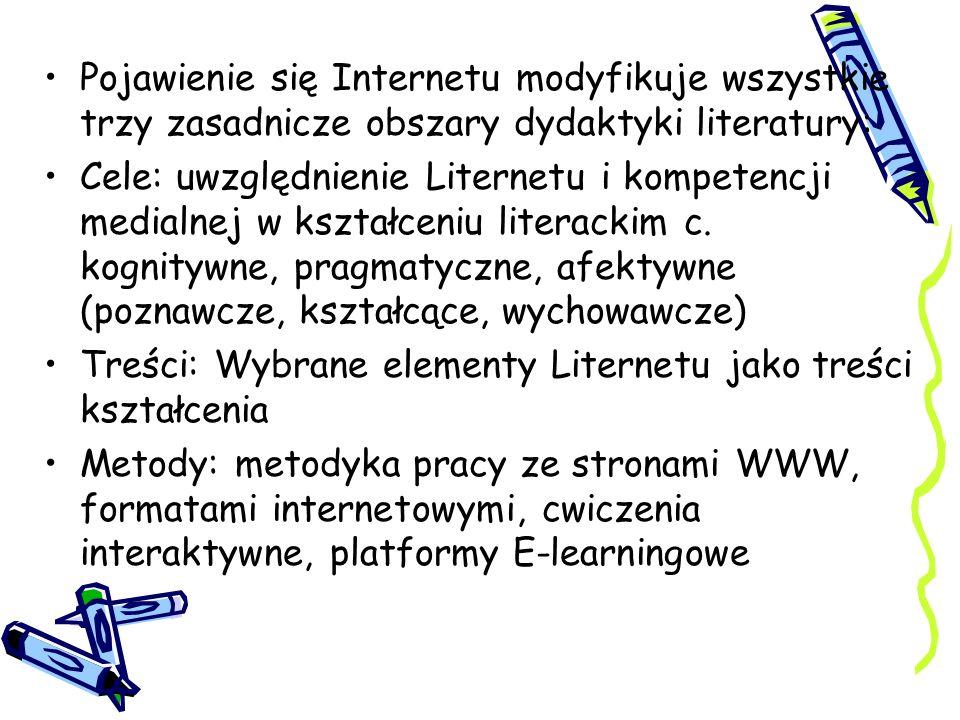 Pojawienie się Internetu modyfikuje wszystkie trzy zasadnicze obszary dydaktyki literatury: Cele: uwzględnienie Liternetu i kompetencji medialnej w ks