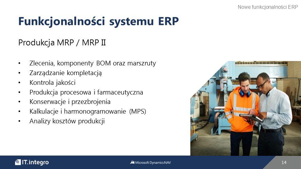 Produkcja MRP / MRP II Zlecenia, komponenty BOM oraz marszruty Zarządzanie kompletacją Kontrola jakości Produkcja procesowa i farmaceutyczna Konserwac