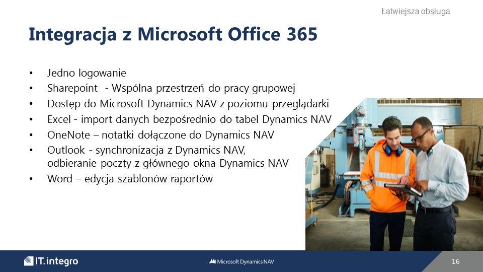 Jedno logowanie Sharepoint - Wspólna przestrzeń do pracy grupowej Dostęp do Microsoft Dynamics NAV z poziomu przeglądarki Excel - import danych bezpoś