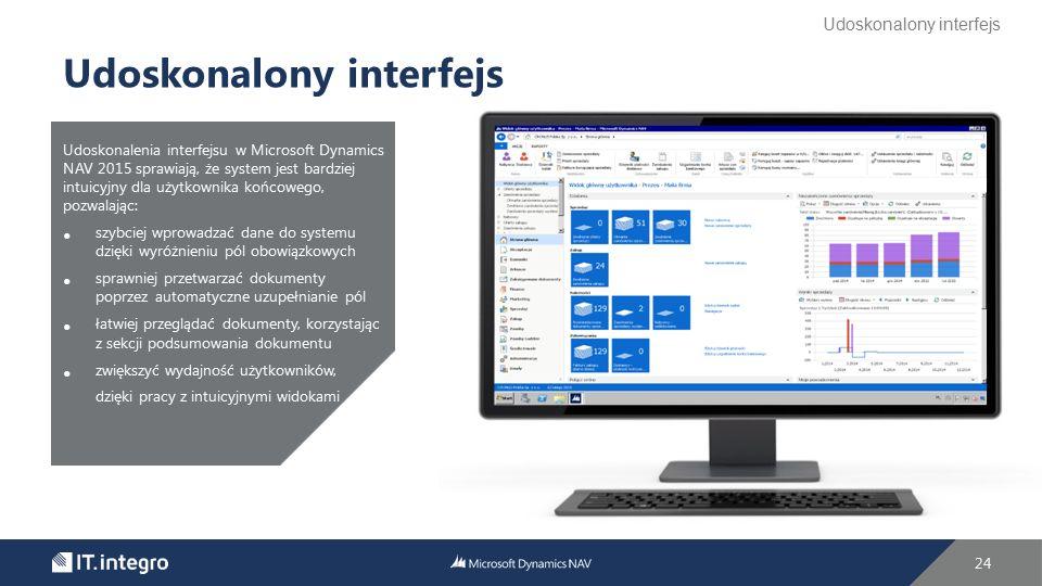 Udoskonalenia interfejsu w Microsoft Dynamics NAV 2015 sprawiają, że system jest bardziej intuicyjny dla użytkownika końcowego, pozwalając: szybciej w