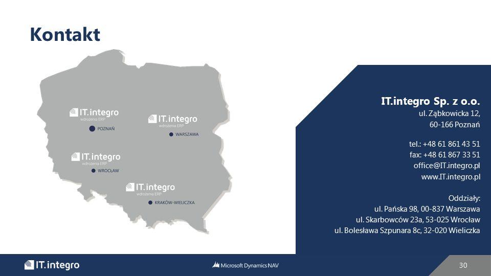 30 Kontakt IT.integro Sp. z o.o. ul. Ząbkowicka 12, 60-166 Poznań tel.: +48 61 861 43 51 fax: +48 61 867 33 51 office@IT.integro.pl www.IT.integro.pl