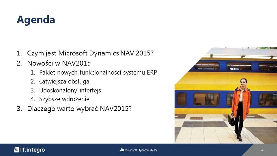 1.Czym jest Microsoft Dynamics NAV 2015? 2.Nowości w NAV2015 1.Pakiet nowych funkcjonalności systemu ERP 2.Łatwiejsza obsługa 3.Udoskonalony interfejs