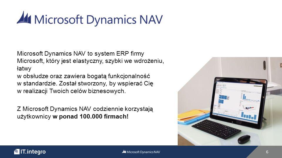 Microsoft Dynamics NAV to system ERP firmy Microsoft, który jest elastyczny, szybki we wdrożeniu, łatwy w obsłudze oraz zawiera bogatą funkcjonalność