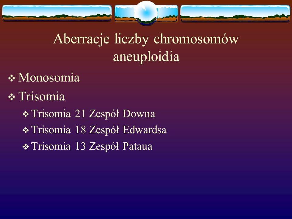 Aberracje liczby chromosomów aneuploidia  Monosomia  Trisomia  Trisomia 21 Zespół Downa  Trisomia 18 Zespół Edwardsa  Trisomia 13 Zespół Pataua