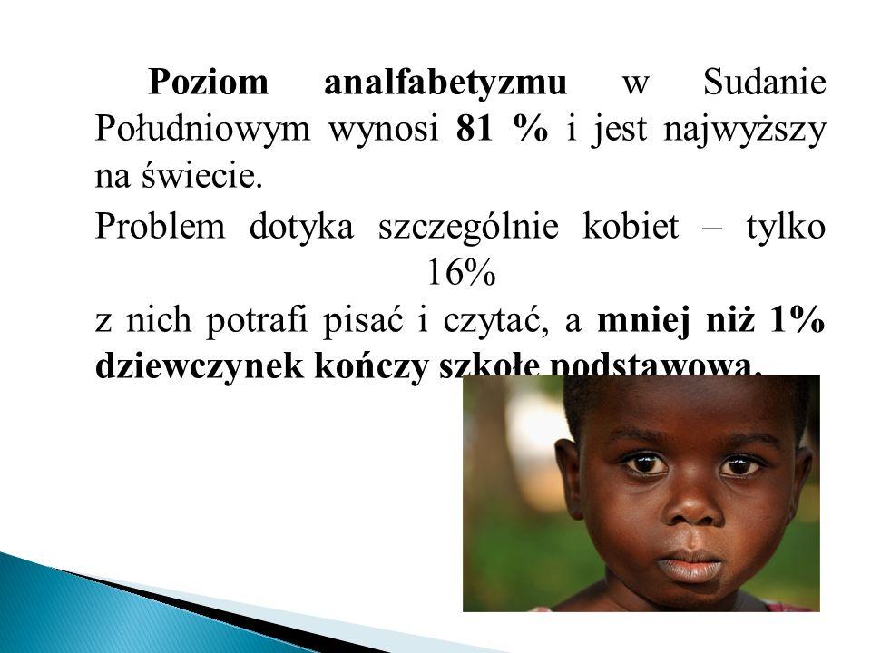 Poziom analfabetyzmu w Sudanie Południowym wynosi 81 % i jest najwyższy na świecie.