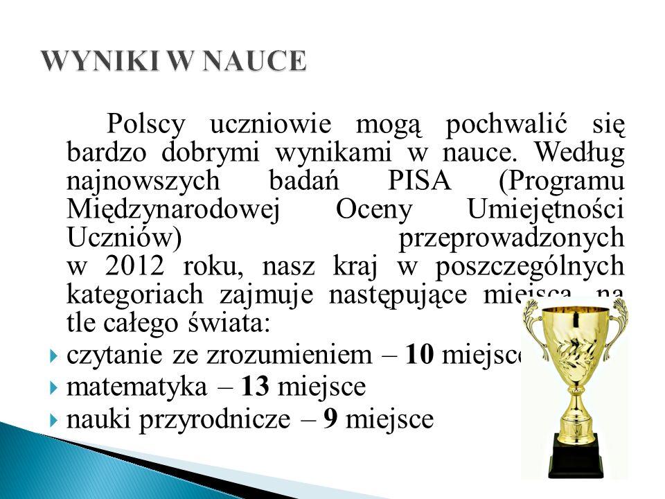 Polscy uczniowie mogą pochwalić się bardzo dobrymi wynikami w nauce.