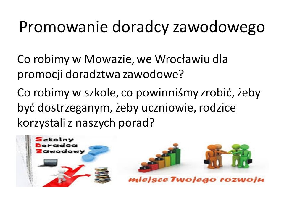 Promowanie doradcy zawodowego Co robimy w Mowazie, we Wrocławiu dla promocji doradztwa zawodowe.