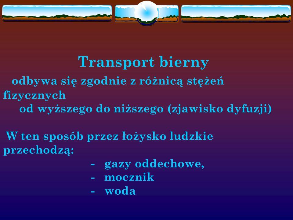 Transport bierny odbywa się zgodnie z różnicą stężeń fizycznych od wyższego do niższego (zjawisko dyfuzji) W ten sposób przez łożysko ludzkie przechod