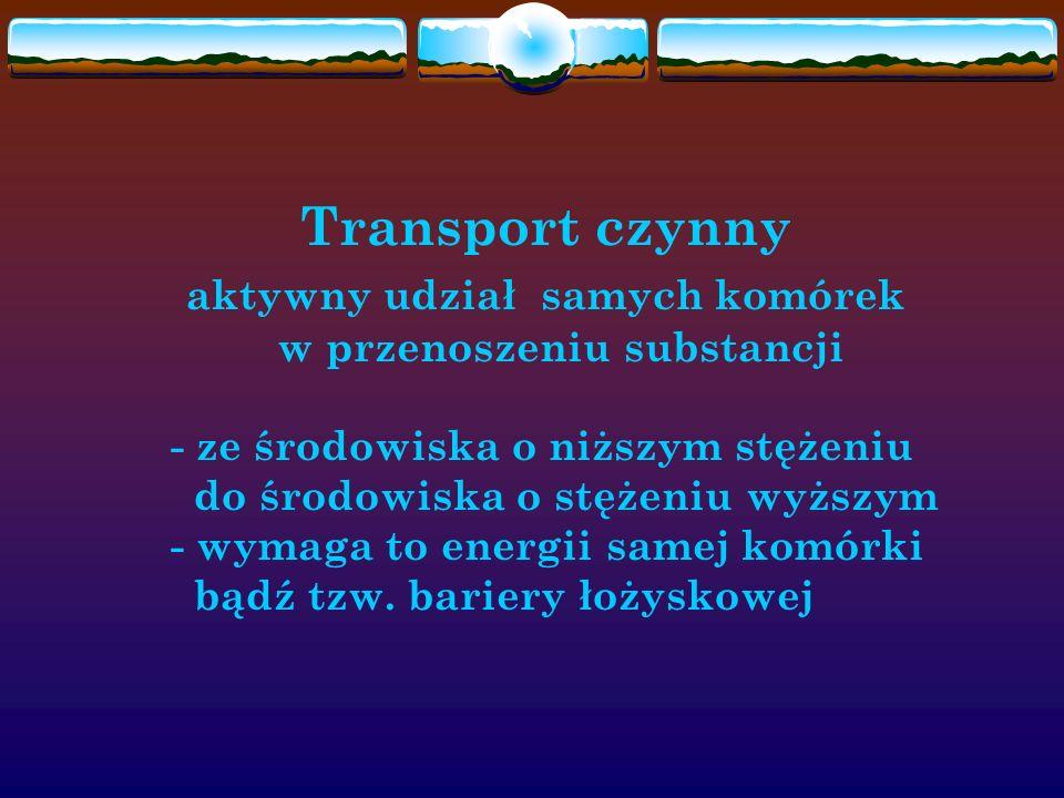 Transport czynny aktywny udział samych komórek w przenoszeniu substancji - ze środowiska o niższym stężeniu do środowiska o stężeniu wyższym - wymaga