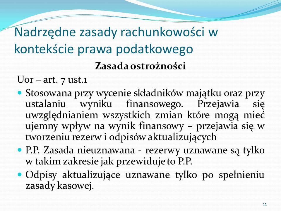 Nadrzędne zasady rachunkowości w kontekście prawa podatkowego Zasada ostrożności Uor – art. 7 ust.1 Stosowana przy wycenie składników majątku oraz prz