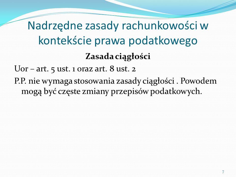 Przychody w polskim prawie bilansowym i podatkowym - różnice Prawo bilansowe Prawo podatkowe Do przychodów nie zalicza się świadczeń nieodpłatnych Przy pomiarze obowiązują zasady memoriału i kontynuacji działalności Akceptowanie cech informacji: istotność, neutralność, przewaga treści nad formą Brak wyłączeń Przychodem może być wartość świadczeń nieodpłatnych Równorzędne stosowanie zasady memoriału i kasowej, nie akceptowanie zasady kontynuacji działalności Odrzucanie istotności, przewagi treści nad formą, neutralności Długa lista wyłączeń 28