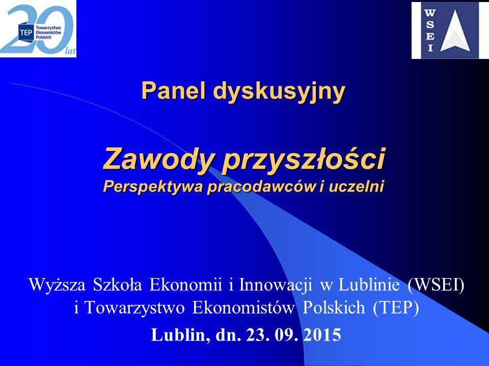 Panel dyskusyjny Zawody przyszłości Perspektywa pracodawców i uczelni Wyższa Szkoła Ekonomii i Innowacji w Lublinie (WSEI) i Towarzystwo Ekonomistów Polskich (TEP) Lublin, dn.