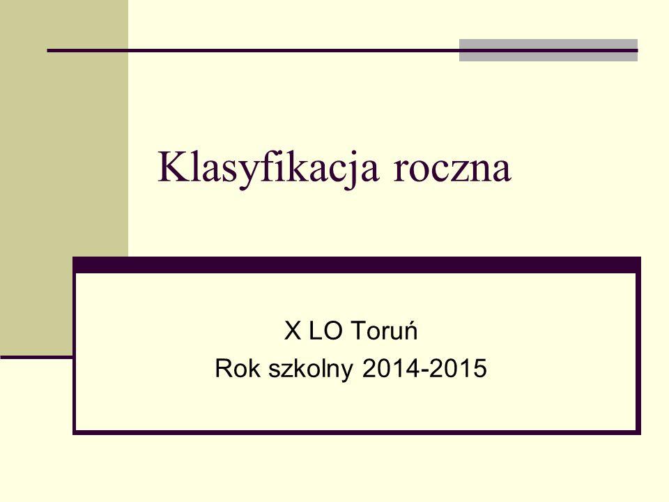 Klasyfikacja roczna X LO Toruń Rok szkolny 2014-2015