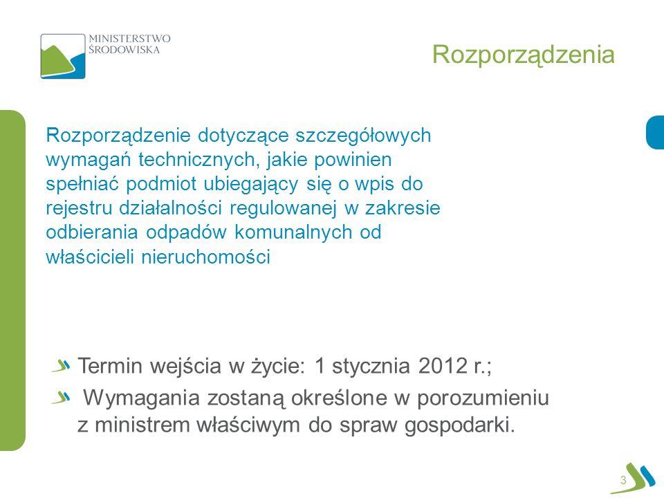 Rozporządzenia 3 Rozporządzenie dotyczące szczegółowych wymagań technicznych, jakie powinien spełniać podmiot ubiegający się o wpis do rejestru działalności regulowanej w zakresie odbierania odpadów komunalnych od właścicieli nieruchomości Termin wejścia w życie: 1 stycznia 2012 r.; Wymagania zostaną określone w porozumieniu z ministrem właściwym do spraw gospodarki.
