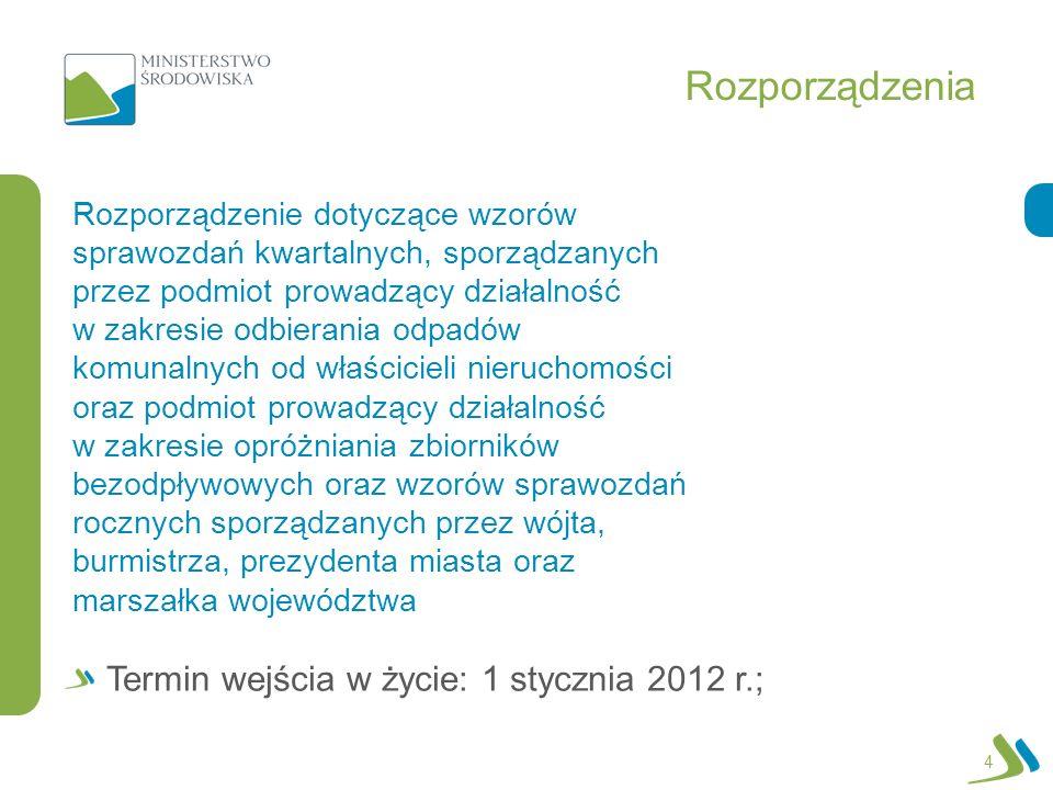 Rozporządzenia 4 Rozporządzenie dotyczące wzorów sprawozdań kwartalnych, sporządzanych przez podmiot prowadzący działalność w zakresie odbierania odpadów komunalnych od właścicieli nieruchomości oraz podmiot prowadzący działalność w zakresie opróżniania zbiorników bezodpływowych oraz wzorów sprawozdań rocznych sporządzanych przez wójta, burmistrza, prezydenta miasta oraz marszałka województwa Termin wejścia w życie: 1 stycznia 2012 r.;