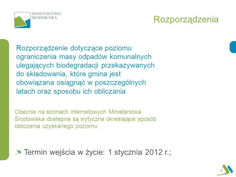 Rozporządzenia 6 Rozporządzenie dotyczące poziomu ograniczenia masy odpadów komunalnych ulegających biodegradacji przekazywanych do składowania, które gmina jest obowiązana osiągnąć w poszczególnych latach oraz sposobu ich obliczania Termin wejścia w życie: 1 stycznia 2012 r.; Obecnie na stronach internetowych Ministerstwa Środowiska dostępne są wytyczne określające sposób obliczenia uzyskanego poziomu