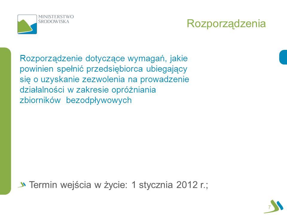 Rozporządzenia 7 Rozporządzenie dotyczące wymagań, jakie powinien spełnić przedsiębiorca ubiegający się o uzyskanie zezwolenia na prowadzenie działalności w zakresie opróżniania zbiorników bezodpływowych Termin wejścia w życie: 1 stycznia 2012 r.;