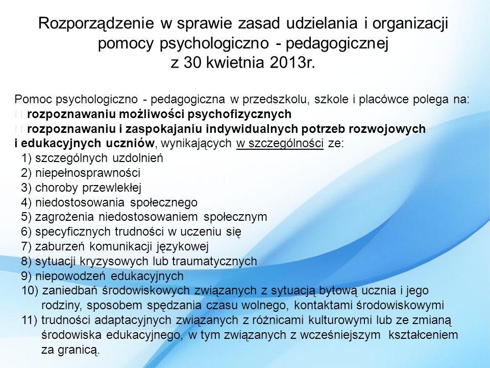 Rozporządzenie w sprawie zasad udzielania i organizacji pomocy psychologiczno - pedagogicznej z 30 kwietnia 2013r.