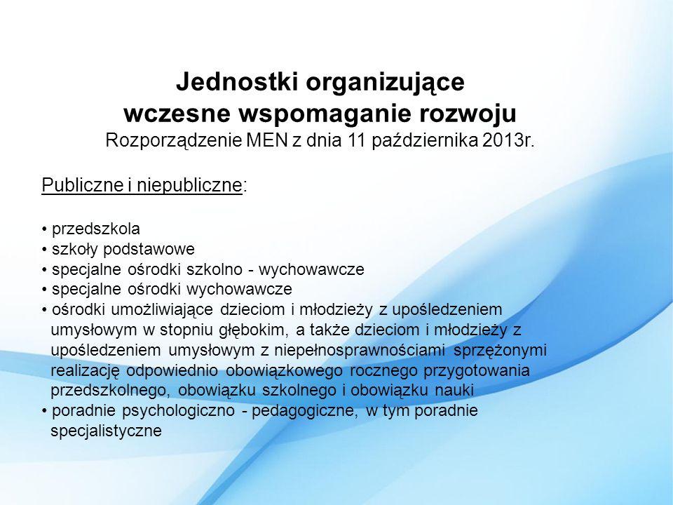 Jednostki organizujące wczesne wspomaganie rozwoju Rozporządzenie MEN z dnia 11 października 2013r.