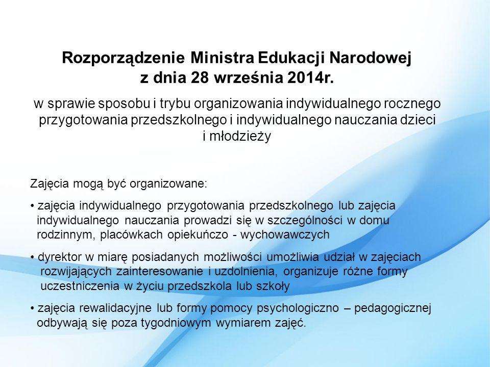 Rozporządzenie Ministra Edukacji Narodowej z dnia 28 września 2014r.
