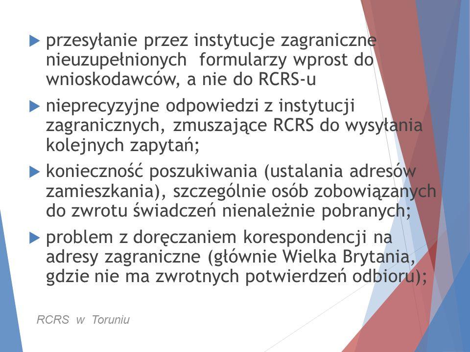  przesyłanie przez instytucje zagraniczne nieuzupełnionych formularzy wprost do wnioskodawców, a nie do RCRS-u  nieprecyzyjne odpowiedzi z instytucj