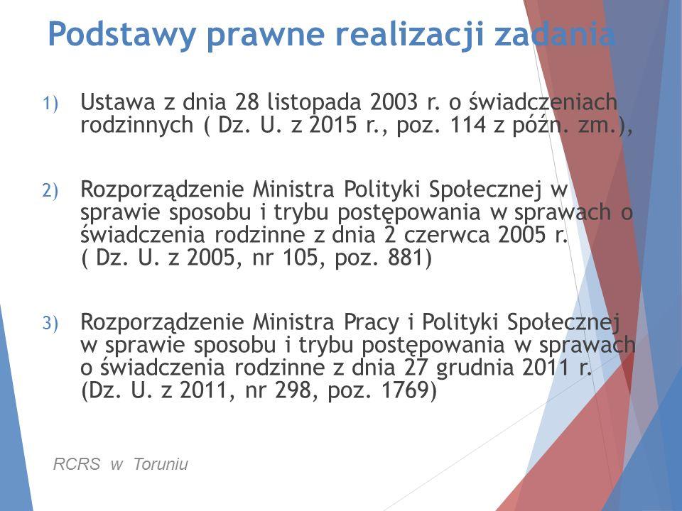 Podstawy prawne realizacji zadania 1) Ustawa z dnia 28 listopada 2003 r. o świadczeniach rodzinnych ( Dz. U. z 2015 r., poz. 114 z późn. zm.), 2) Rozp