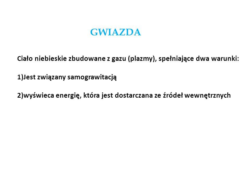 GWIAZDA Ciało niebieskie zbudowane z gazu (plazmy), spełniające dwa warunki: 1)Jest związany samograwitacją 2)wyświeca energię, która jest dostarczana