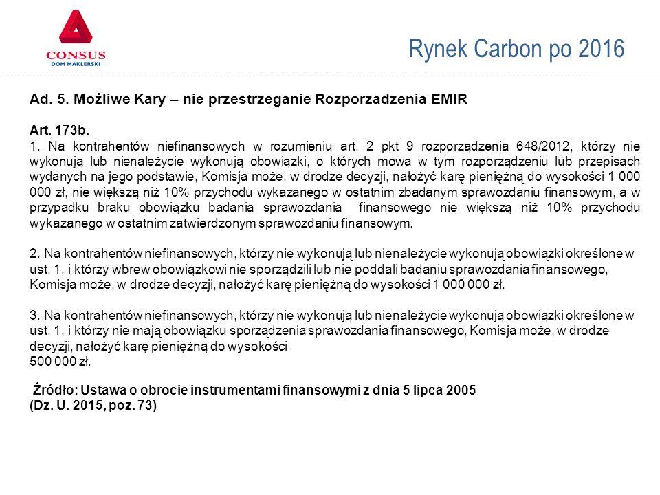 Rynek Carbon po 2016 Ad. 5. Możliwe Kary – nie przestrzeganie Rozporzadzenia EMIR Art. 173b. 1. Na kontrahentów niefinansowych w rozumieniu art. 2 pkt