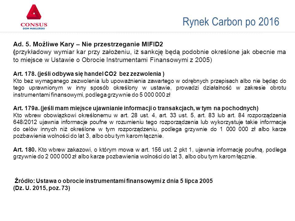 Rynek Carbon po 2016 Ad. 5. Możliwe Kary – Nie przestrzeganie MIFID2 (przykładowy wymiar kar przy założeniu, iż sankcję będą podobnie określone jak ob