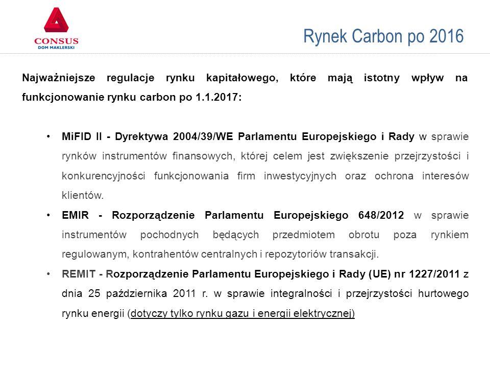 Rynek Carbon po 2016 Porównanie giełd Najważniejsze regulacje rynku kapitałowego, które mają istotny wpływ na funkcjonowanie rynku carbon po 1.1.2017: MiFID II - Dyrektywa 2004/39/WE Parlamentu Europejskiego i Rady w sprawie rynków instrumentów finansowych, której celem jest zwiększenie przejrzystości i konkurencyjności funkcjonowania firm inwestycyjnych oraz ochrona interesów klientów.