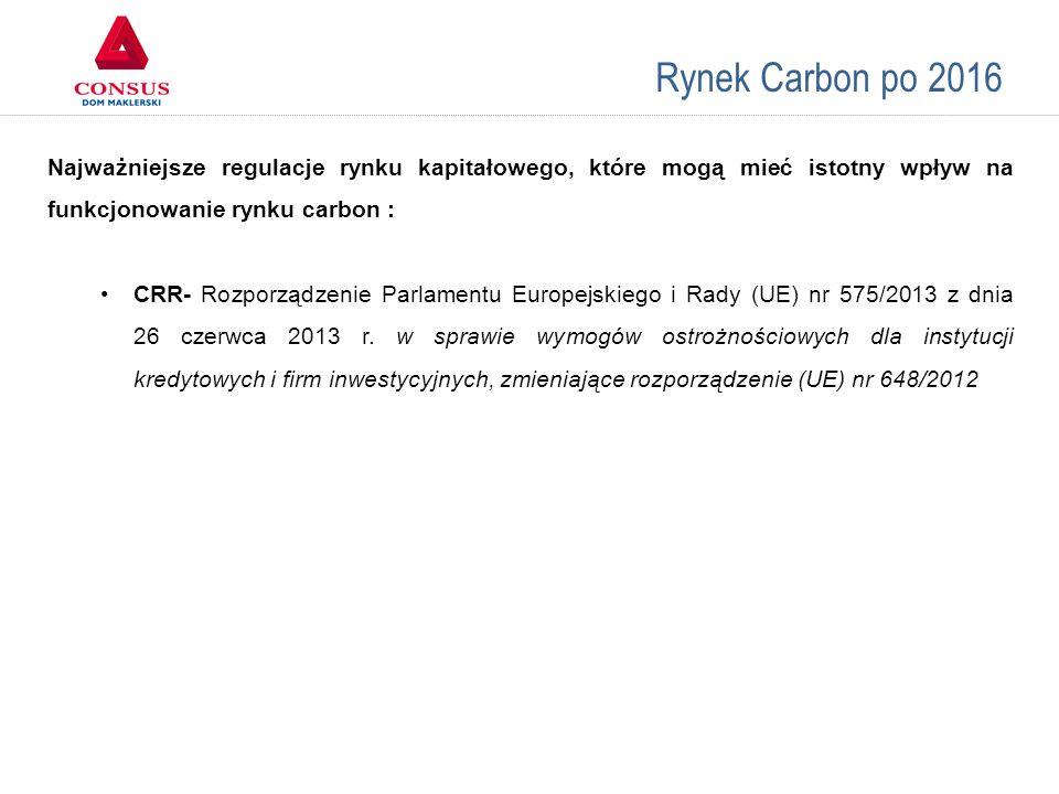 Rynek Carbon po 2016 Porównanie giełd Najważniejsze regulacje rynku kapitałowego, które mogą mieć istotny wpływ na funkcjonowanie rynku carbon : CRR-