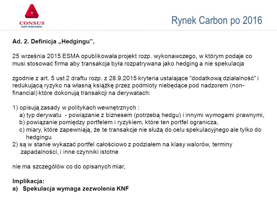 """Rynek Carbon po 2016 Ad. 2. Definicja """"Hedgingu"""", 25 września 2015 ESMA opublikowała projekt rozp. wykonawczego, w którym podaje co musi stosować firm"""