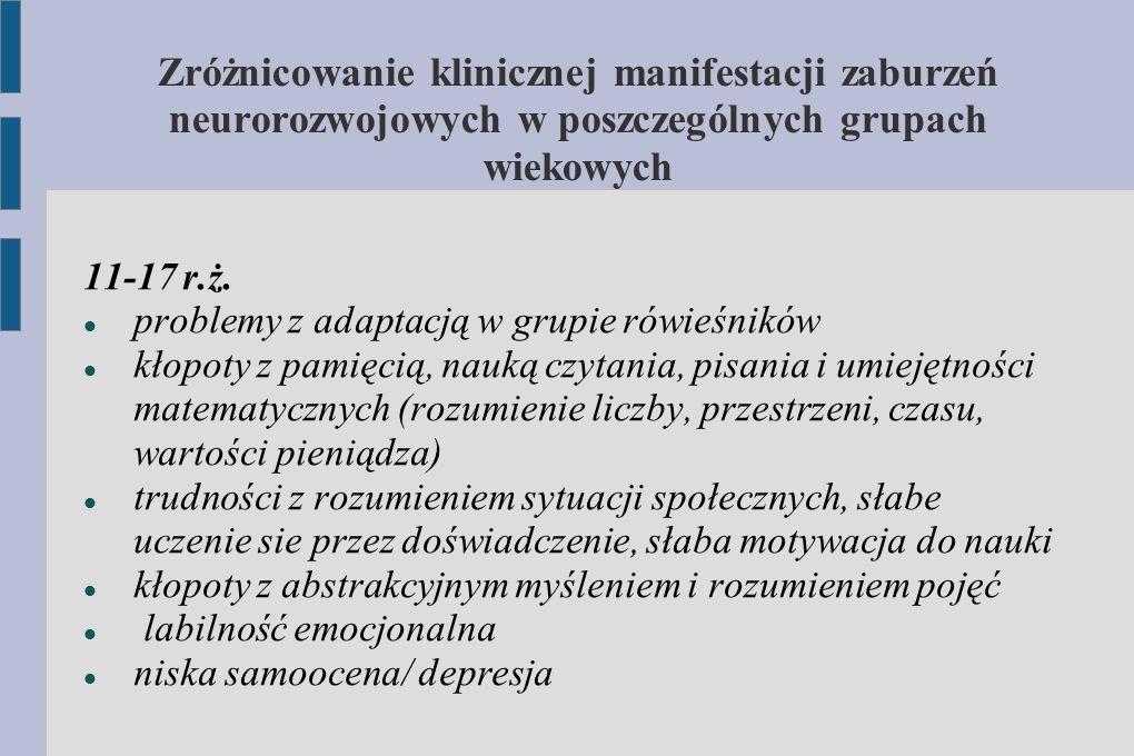 Zróżnicowanie klinicznej manifestacji zaburzeń neurorozwojowych w poszczególnych grupach wiekowych 11-17 r.ż. problemy z adaptacją w grupie rówieśnikó