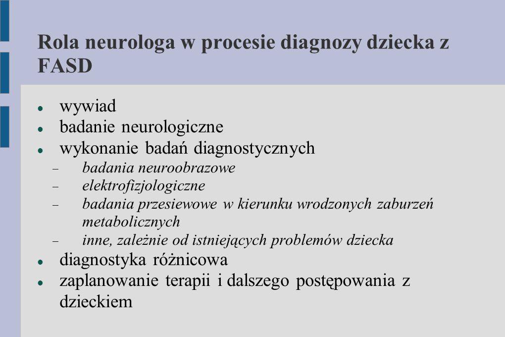 Rola neurologa w procesie diagnozy dziecka z FASD wywiad badanie neurologiczne wykonanie badań diagnostycznych  badania neuroobrazowe  elektrofizjol
