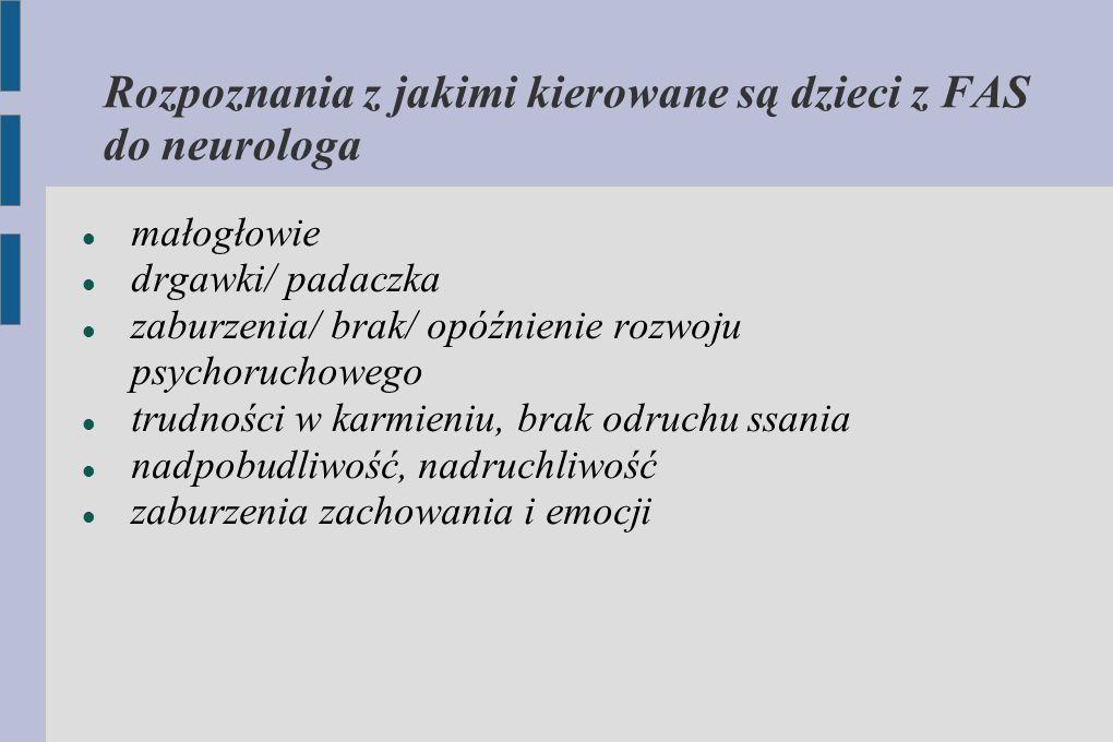 Rozpoznania z jakimi kierowane są dzieci z FAS do neurologa małogłowie drgawki/ padaczka zaburzenia/ brak/ opóźnienie rozwoju psychoruchowego trudnośc