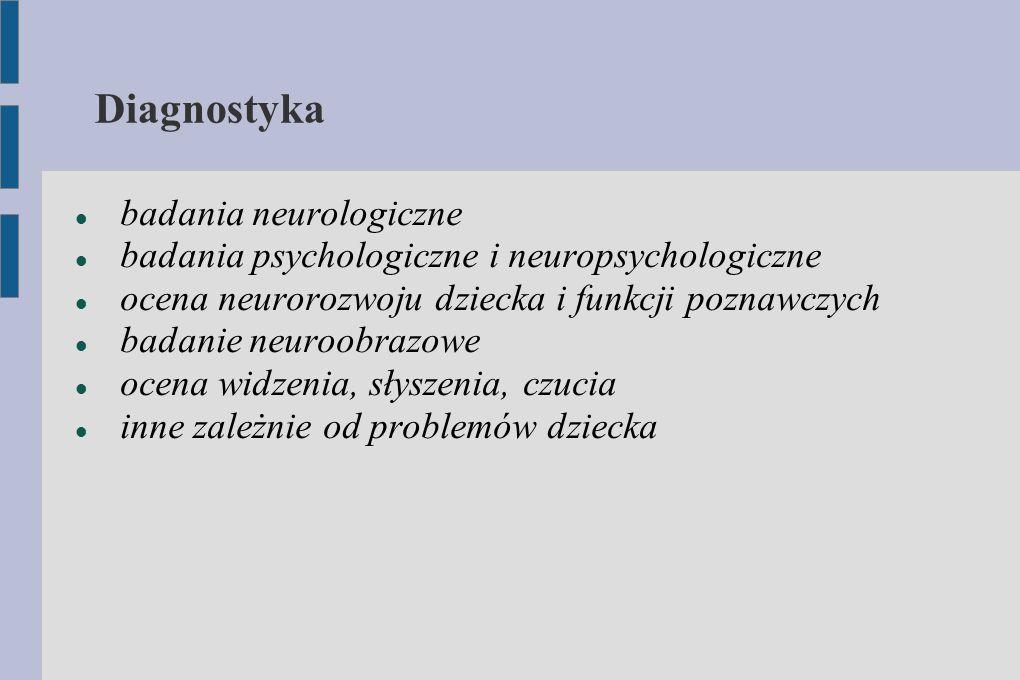 Diagnostyka badania neurologiczne badania psychologiczne i neuropsychologiczne ocena neurorozwoju dziecka i funkcji poznawczych badanie neuroobrazowe