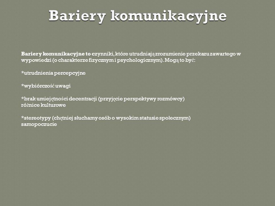 Bariery komunikacyjne to czynniki, które utrudniaj ą zrozumienie przekazu zawartego w wypowiedzi (o charakterze fizycznym i psychologicznym). Mog ą to
