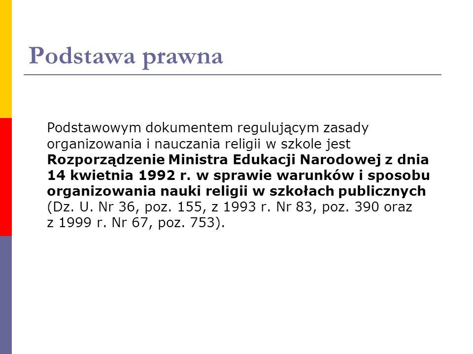 Podstawa prawna Podstawowym dokumentem regulującym zasady organizowania i nauczania religii w szkole jest Rozporządzenie Ministra Edukacji Narodowej z