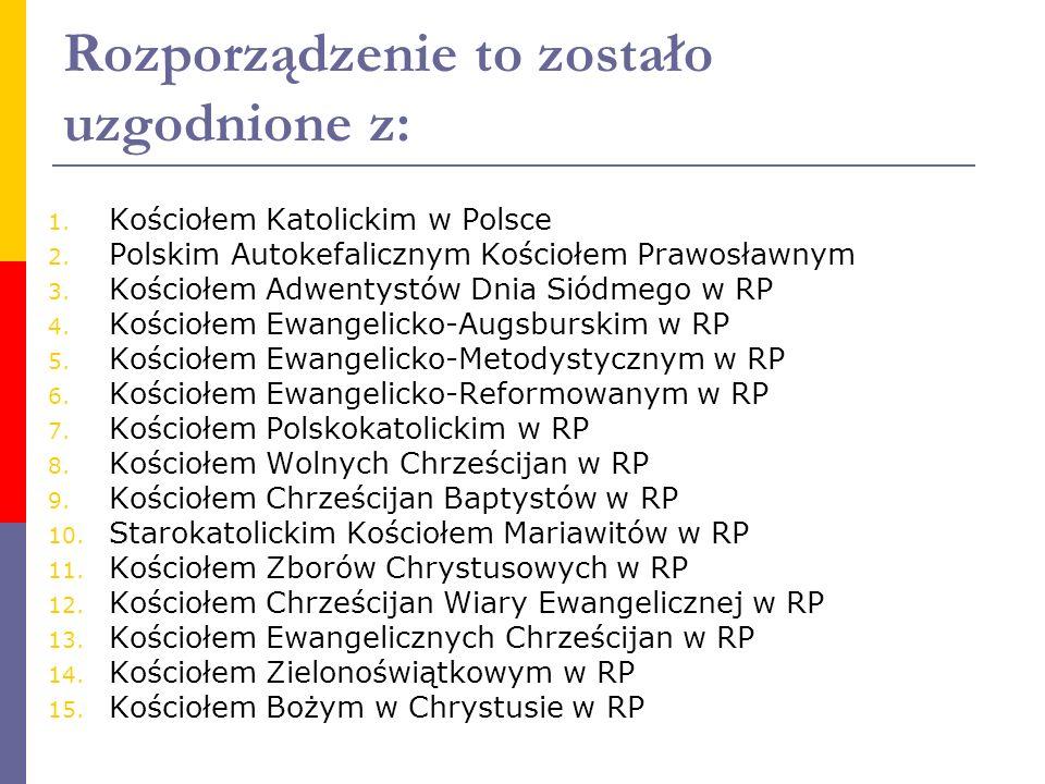 Rozporządzenie to zostało uzgodnione z: 1. Kościołem Katolickim w Polsce 2. Polskim Autokefalicznym Kościołem Prawosławnym 3. Kościołem Adwentystów Dn