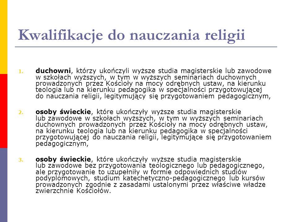 Kwalifikacje do nauczania religii 1. duchowni, którzy ukończyli wyższe studia magisterskie lub zawodowe w szkołach wyższych, w tym w wyższych seminari