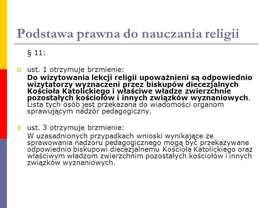 Podstawa prawna do nauczania religii § 11:  ust. 1 otrzymuje brzmienie: Do wizytowania lekcji religii upoważnieni są odpowiednio wizytatorzy wyznacze