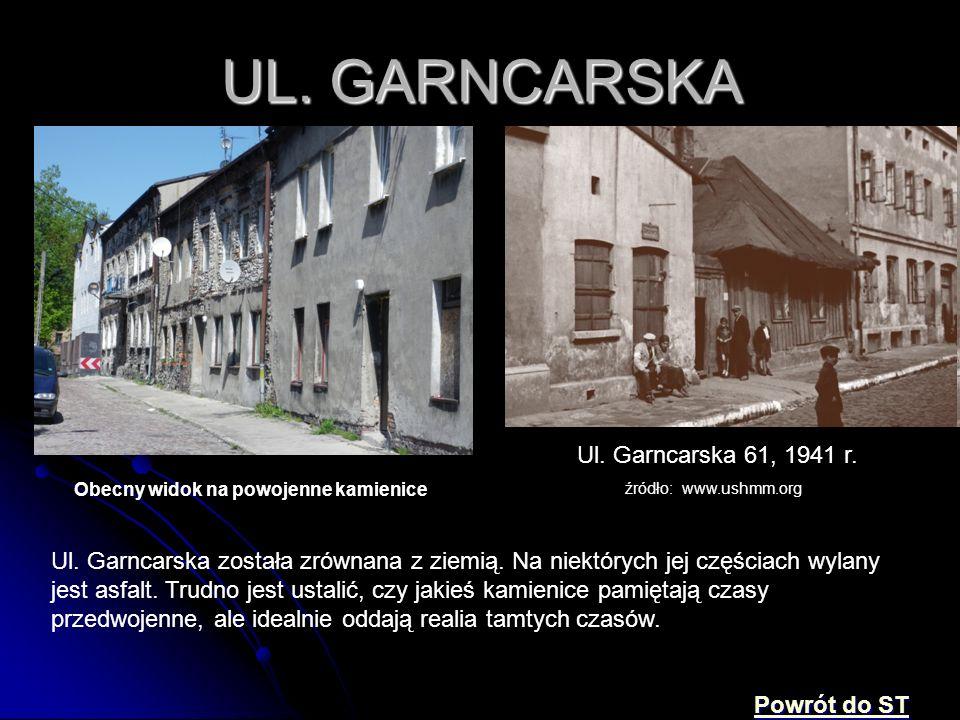 UL. GARNCARSKA Ul. Garncarska 61, 1941 r. źródło: www.ushmm.org Obecny widok na powojenne kamienice Ul. Garncarska została zrównana z ziemią. Na niekt